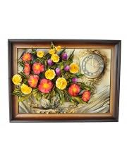 Zegar w ramie ze skóry kwiaty 5ZE/020