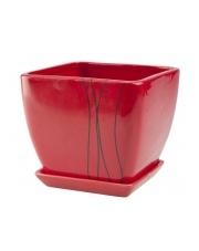 Donica ceramiczna  czerwona 15 cm w sklepie Dedekor.pl