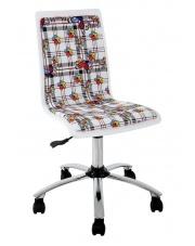 Krzesło dla dzieci i młodzieży FUN - Białe w kwiaty w sklepie Dedekor.pl