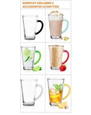 Szklanki Latte Do Kawy Herbaty Komplet 6szt kolorowe ucho