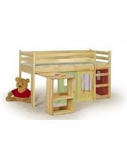 Piętrowe łóżko z biurkiem i materacem EMI - sosna w sklepie Dedekor.pl