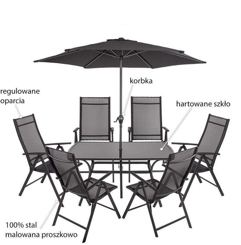Komplet mebli ogrodowych z parasolem Capri PATIO , Meble, Meble