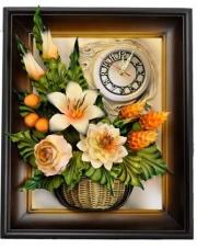 Zegar Kwiaty Wiszący w Ramie 40x50cm w sklepie Dedekor.pl