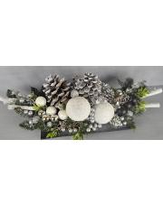 Stroik dekoracyjny świąteczny białe kule w sklepie Dedekor.pl