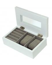 Szkatułka Biała Skrzyneczka na Biżuterię Pudełko drewniane