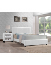 Komfortowe łóżko RAVIS - biała eco skóra w sklepie Dedekor.pl