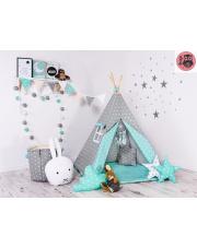 TIPI namiot szary mięta w gwiazdki domek WIGWAM w sklepie Dedekor.pl