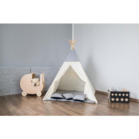 TIPI namiot szaro beżowy wigwam domek okna w sklepie Dedekor.pl