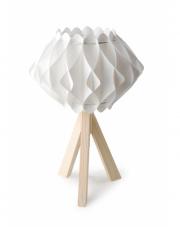 Modna lampa POLA biala drewniana podstawa