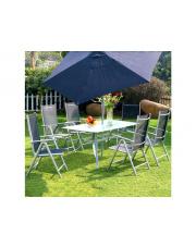 Komplet mebli ogrodowych z parasolem PATIO srebrny