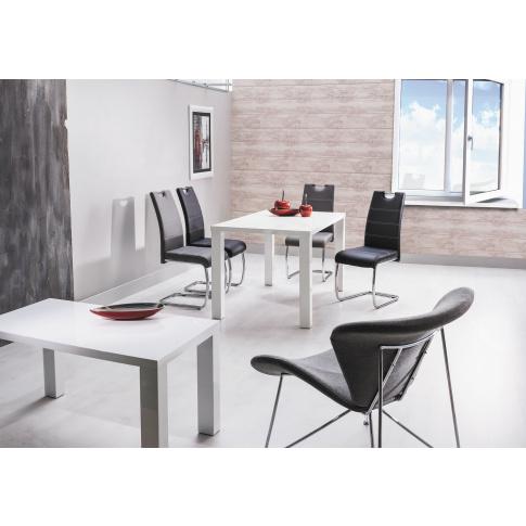 Stół lakierowany biały połysk 80x80 cm w sklepie Dedekor.pl