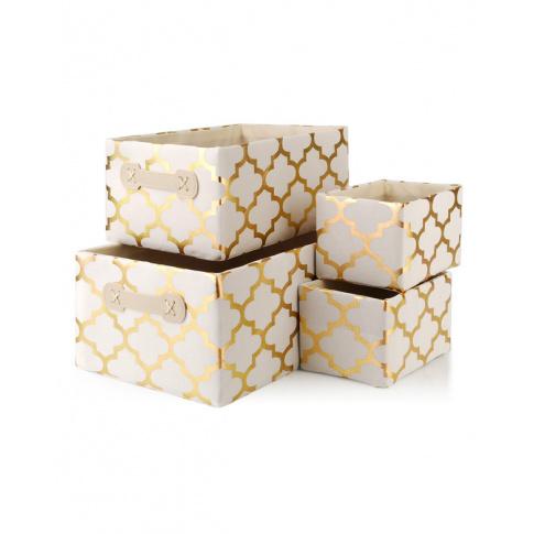 luksusowy komplet 4 biało złotych koszy sara gold  w sklepie Dedekor.pl