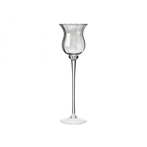 Szklany świecznik Victoria lister srebrny 38x11,5 w sklepie Dedekor.pl