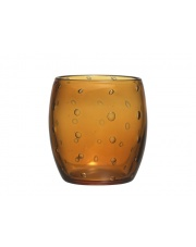 Ozdobny świecznik szklany Bubble bursztynowy wys.10