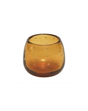 Dekoracyjny świecznik szklany Bubble bursztynowy wys.8,5