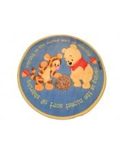 Okrągły niebieski dywan akrylowy Baby 140x140 Kubuś Puchatek