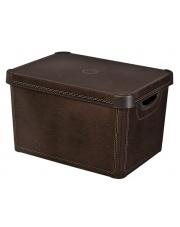 Brązowe pudło z pokrywką Leather 39,5x29x5x25 plastikowe