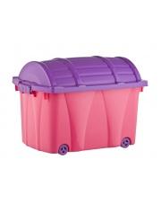 Praktyczny kufer z przykrywką na kółkach 57x37x41 plastikowy