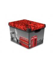 Dekoracyjne pudełko z pokrywą i uchwytami Londyn 39,5x29,5x25 plastikowe