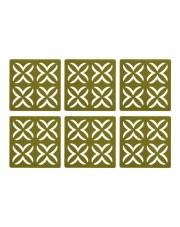 Zestaw 6 oliwkowych podkładek z filcu 10x10 w sklepie Dedekor.pl