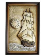 Skórzany obraz ozdobny Statek 65x100 z zegarem w sklepie Dedekor.pl