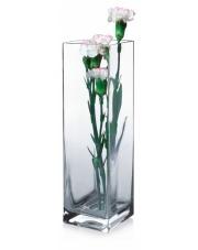 Bezbarwny wazon dekoracyjny Kwadrat wys.30 szklany w sklepie Dedekor.pl