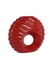 Czerwony wazon okrągły z ceramiki 34,5x32,5x13 z oczkiem