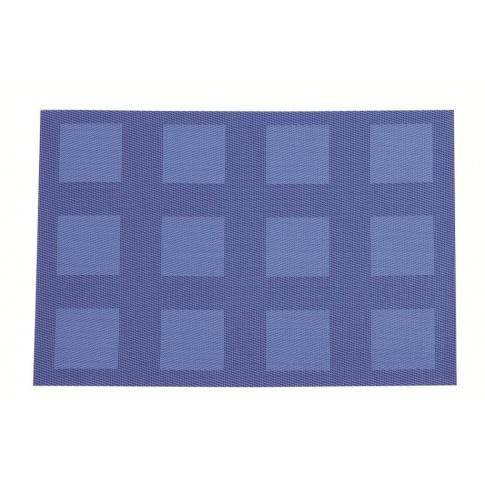 Kuchenna mata ozdobna w kratę Velvet 30x45 niebieska w sklepie Dedekor.pl