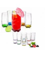 Szklanki i kieliszki do wódki Kolorowe dno 12szt.