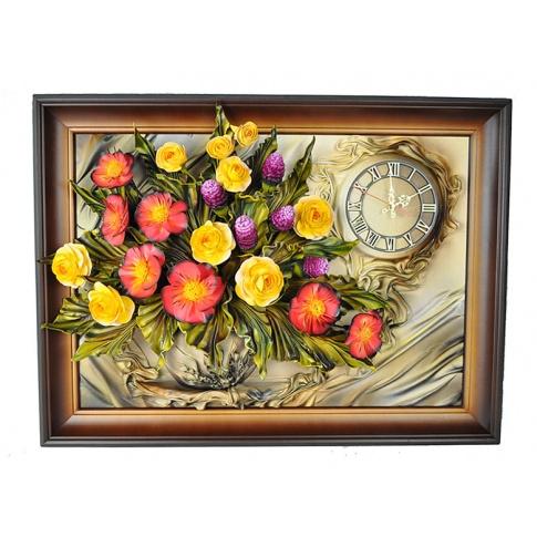 Zegar w ramie ze skóry kwiaty 5ZE/020 w sklepie Dedekor.pl