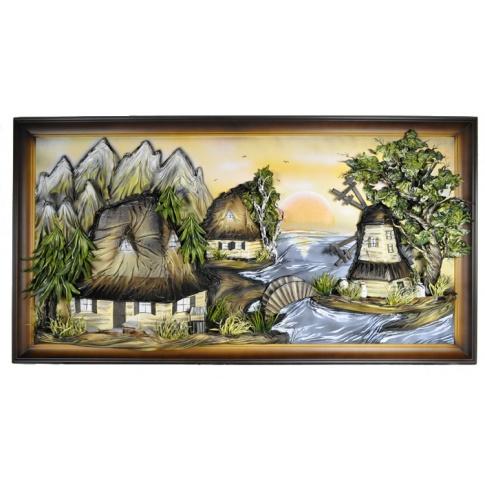 Obraz ze skóry chata 80x150 cm  w sklepie Dedekor.pl