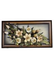 Obraz skórzany z kwiatami