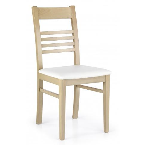 Drewniane Krzesło Ze Skórzanym Obiciem Juliusz Dąb Sonoma