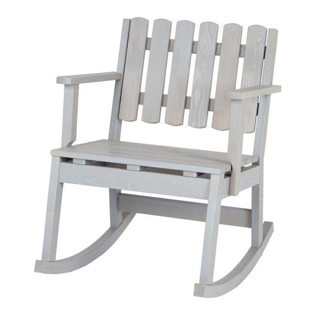 Fotel Bujany Drewniany Na Taras Szary Krzesła Ogrodowe