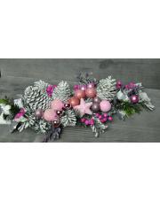 Ozdoba świąteczna różowy stroik w sklepie Dedekor.pl