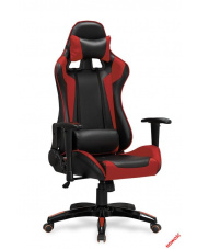 Nowoczesny fotel gabinetowy DUEL czarno-czerwony