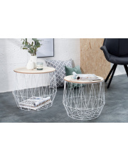 Białe stoliki LEONE - 2 sztuki w sklepie Dedekor.pl