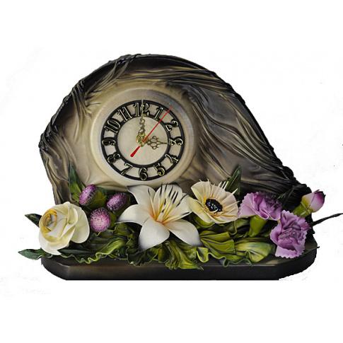 Piękny zegar kominkowy - skóra naturalna w sklepie Dedekor.pl