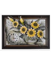 Wyjątkowy zegar ze słonecznikami - skóra naturalna w sklepie Dedekor.pl