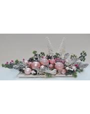 Piękny różowy stroik świąteczny ze świecznikiem w sklepie Dedekor.pl