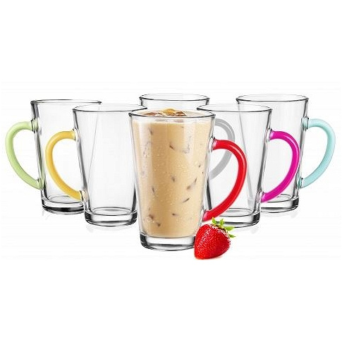 Zestaw szklanek do latte Iwo kolorowe ucho - 6 szt w sklepie Dedekor.pl