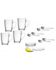 Komplet szklanek do kawy herbaty ze spodkami i łyżeczkami w sklepie Dedekor.pl