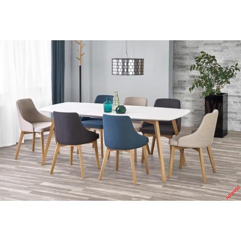 Stylowy stół rozkładany MILLO - biały i miodowy dąb w sklepie Dedekor.pl