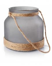 Lampion ozdobny szklany szary