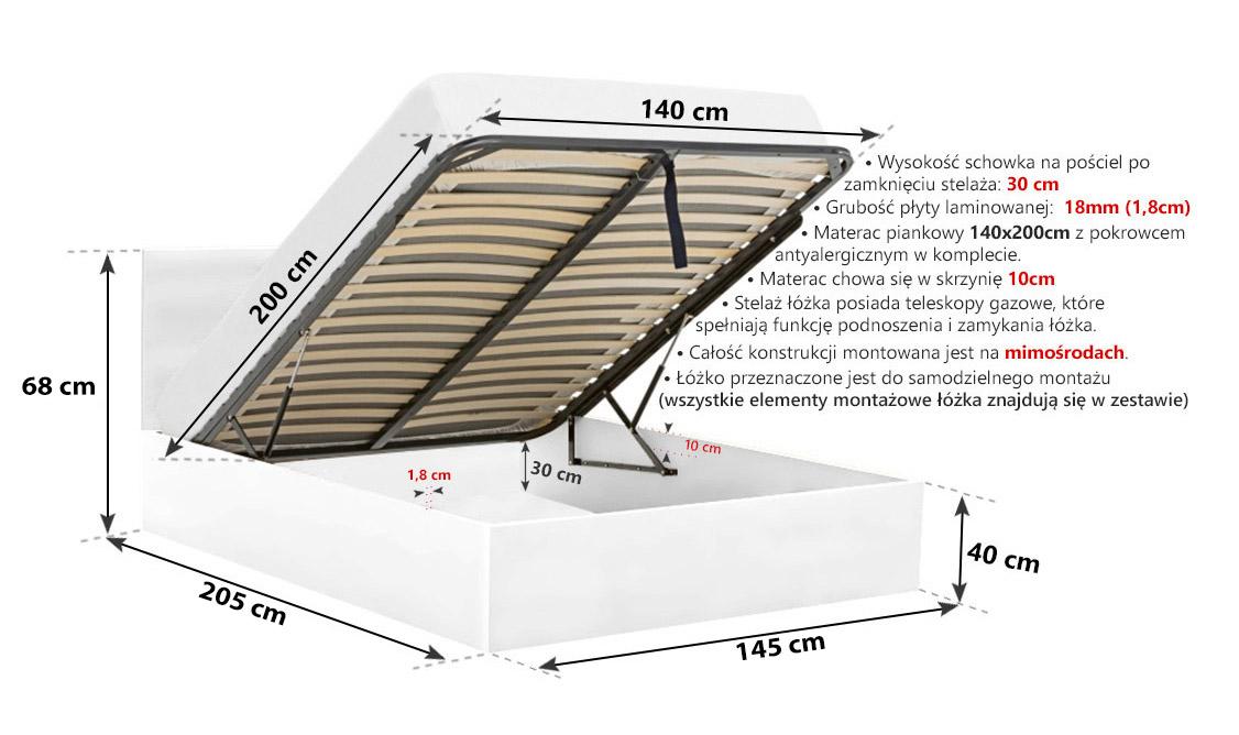 łóżko Ze Skrzynią Na Pościel 140x200 Cm Białe Materac