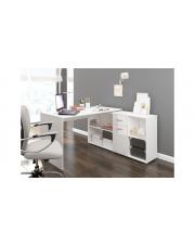Narożne biurko z półkami