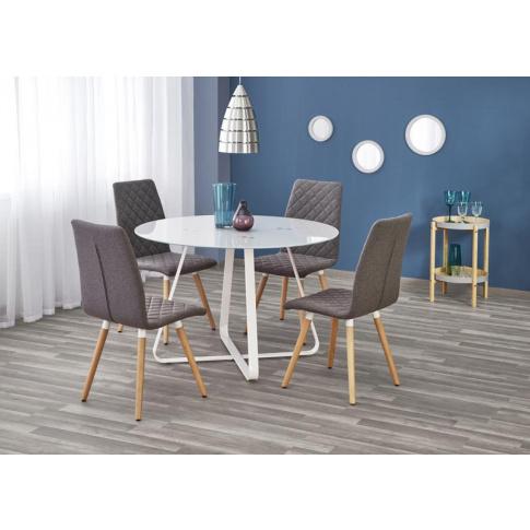 Okrągły stół ze szklanym blatem - Harriet w sklepie Dedekor.pl