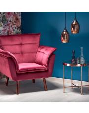 Tapicerowany fotel REZZO z podłokietnikami w stylu retro w sklepie Dedekor.pl