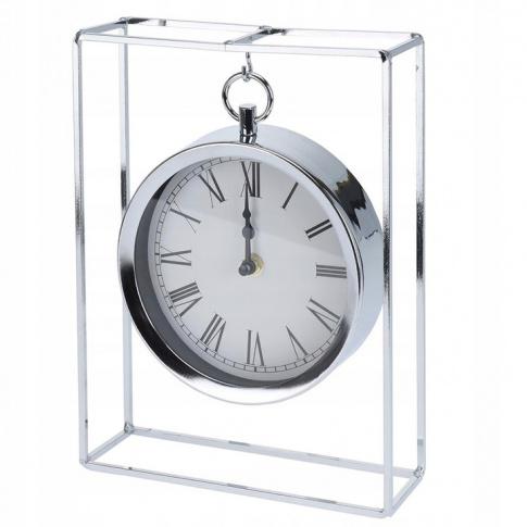 Zegar stołowy Srebrny Glamur w sklepie Dedekor.pl