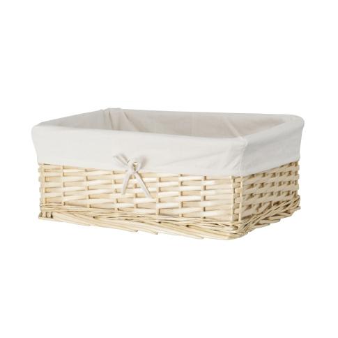 Koszyk wiklinowy naturalny z jasną wyściółką 15x25x22 cm w sklepie Dedekor.pl